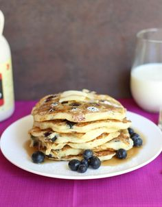 Blueberry Buttermilk Pancakes ~ Light fluffy pancakes stacked with blueberries! Perfect start to your morning!