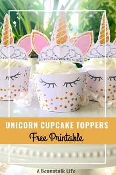 Free printable unicorn cupcake topper and wrapper. I used to make elaborate cakes for my kids birthdays parties, not anything professional looking of course. I mean let's get real here! I have been really attracted to the idea of using cupcakes wrappers. Hopefully these free printable unicorn cupcake liner and toppers will do the trick! #freeprintables #unicorntoppers #Unicornparty #unicorncupcakes