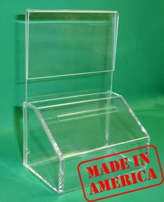 Fundraising Charity Donation Box with Sign Holder - just $12 with free shipping!  Just ordered one to put at Chad's store :) @Melody Gee Hassell this might be good to have at the office with Cancer Girls picture!!!