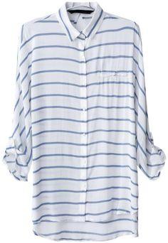 Blue White Striped Blouse
