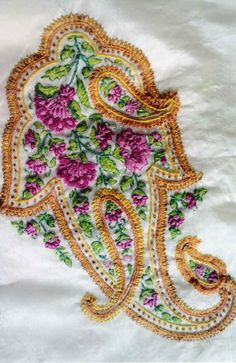 Embroidery work on a saree
