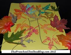 #Fall Leaf Painted Trees in #Kidscrafts