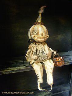 Halloween Version of Elf on a Shelf Creepy but cool , Not a DIY just really cool stuff  Halloween Folk Art by Melissa Valeriote