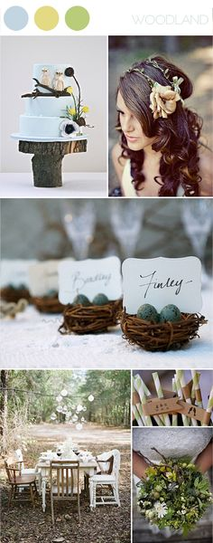 eggs, dream, color, place cards, cake stands, bird nests, birds, woodsy wedding cakes, garden weddings