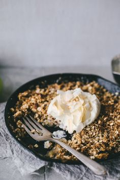 Browned butter, caramel and coconut skillet apple crumble.