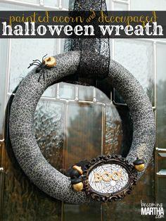 Decoupaged and Painted Acorn Halloween Wreath - Becoming Martha