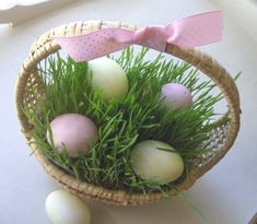 Quick-grow grass in Easter baskets makes a fun spring decoration.  I walked 45 MOPS moms through this craft once and everyone raved about it for weeks afterwards. Even a black thumb like me can make this work!