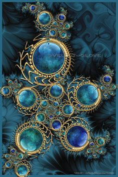 Fractal Art- This is so balanced and color coordinated! What a thing of beauty. fractual, mandalas art, color, fractals art, fractal art, gloves, velvet, deep blue, blues