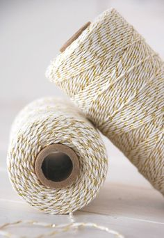 Gold Shimmer Bakers Twine 240 Yards Spool  by CraftyWoolFelt, $14.75