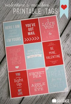 Print these free tags to use for Valentine's mailboxes, gifts and treats! #Valentines #printable www.sisterssuitcaseblog.com