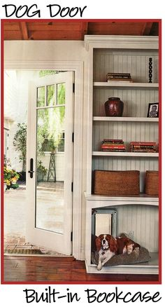 Bookcase with a dog door