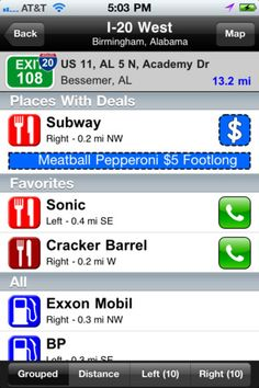 Best app for a road trip to figure out what is on each exit. Even exits 100 Miles away!