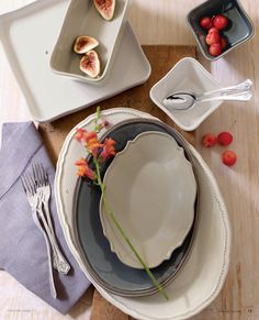 The Best Serving Platter set Ever!!! Riverstone Stacking Platters. Willow House- available at karenallison.store.willowhouse.com
