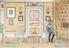 Carl Larsson loved to paint his children. The story is that this particular son was in trouble and was sent to sit on this chair in the kitchen. His father made him sit there while he painted him. Classic. And, yes, this is what the room looks like, even today. Gorgeous and bold.