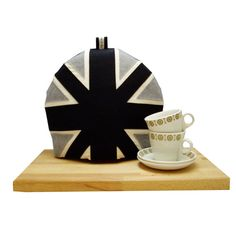 black & gray tea cozy