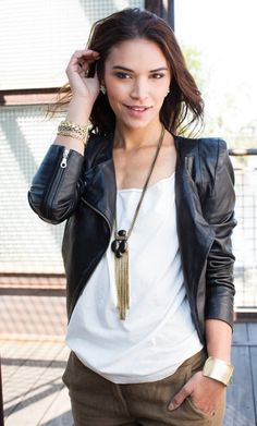 A leather #jacket is better with more leather! Layer on the #Silpada Leather Together Necklace for an edgy look. www.mysilpada.com/kendall.fears