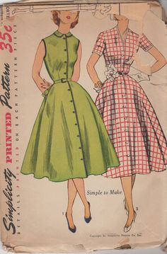 Vintage Simplicity 3851 Dress Sewing Pattern Bust 32