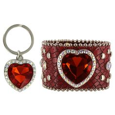Shyanne® Women's Heart Cuff Bracelet and Keychain Gift Set  #jewelry #valentinesday #hearts