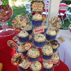 Cupcake tree for circus themed birthday party