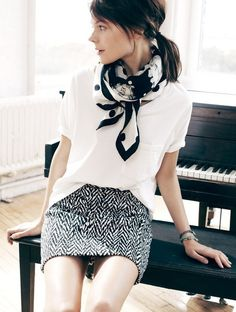 dressed up white t-shirt, scarf, skirt, ponytail
