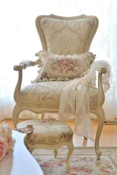 French Country Shabby Chic Chair. Elegant furniture and pillow