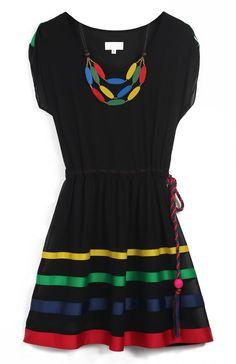 Drawstring Waist Striped Dress