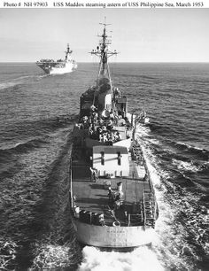 USS Maddox steaming astern of USS Philippine Sea, March 1953