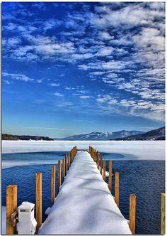 winter on the Lake George  One of the public #docks on #Lake George, NY during the #winter. Winter, Snow, Lakes, Lake George New York, Beauti, Travel, Peerless Lake, Georg Usa, Dock
