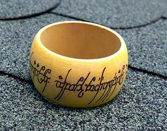 lord of rings wood burned bangle bracelet #DiyBangles