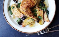 Chicken legs, potatoes, and briny Kalamata olives star in this easy one-pan dish.