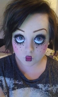 Creepy doll face make-up