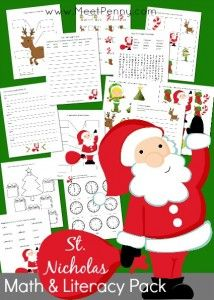 Santa-St-Nicholas-Math-Literacy-Printable-Pack! Hurry FREE for a limited time!