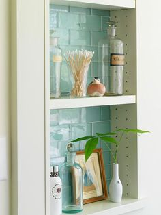 Wall Niche:: A wall niche is another good way to squeeze out extra space in a bath. Whether used as a decorative display or for functional storage, a niche also adds depth and interest to a wall area.