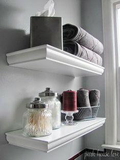 Use narrow shelves in places that would otherwise be wasted bathroom space for added storage and to draw your eye up to the ceiling and through the space, making it feel larger... Small Bathroom Chic: 3 Easy Ways to Make Your Small Bathroom Larger from Bathroom Bliss by Rotator Rod, the curved shower rod that rotates!