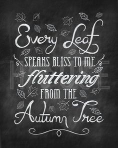 Autumn Leaves Chalkboard Print