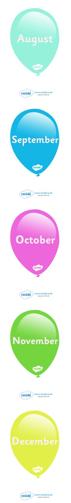 Twinkl Resources >> Months Of The Year On Balloons  >> Thousands of printable primary teaching resources for EYFS, KS1, KS2 and beyond! months poster, weeks display, display, poster, months of the year