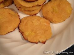Pina Colada Coconut Cookies made with honey, coconut oil, coconut flour, eggs, sea salt, vanilla extract, pineapple and chipped coconut.
