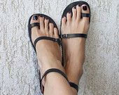 Toe Ring Ankle Strap Barefoot Sandals With Silver Buckles - Breeze $60
