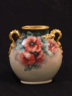 Limoge French Hand Painted Vase  c.1890