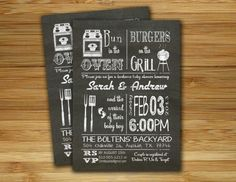 bun in the oven, burgers on the grill. baby shower invite.