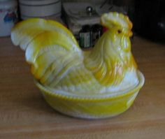Rare Yellow Slag Westmoreland Rooster
