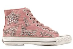 Ash Pink Leather High Tops