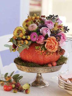 floral pumpkin arrangement