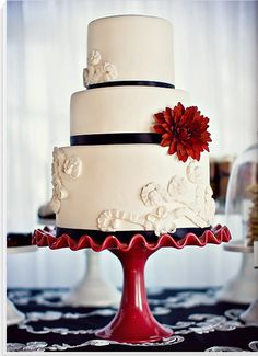 3 tier wedding cake with some Spanish inspiration