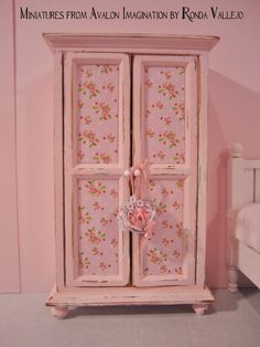 1:12th Scale Miniature Dollhouse Filled Armoire Wardrobe Cabinet Shabby Chic pink with roses