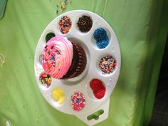 Decorate your own cupcake using art pallets. Fantastic idea! Totally doing this for E's party