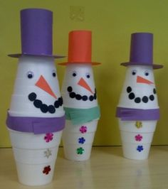 Styrofoam cup snowman. Lots of leftover cups...needed a craft to get rid of them.