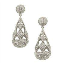 Diamond Hollow Pear Drop Dangle Earrings diamond hollow, pear drop, dangl earring, hollow pear, dangle earrings