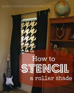 Houndstooth stencil on a roller shade in black and white. Great stencil project from @Janis Steward of All Things Beautiful blog