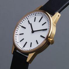 Uniform Wares 251 Series watch in satin gold with black strap by Uniform Wares. Available at Dezeen Watch Store: www.dezeenwatchstore.com #watches